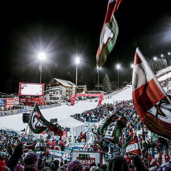 View from the crowd at the Ski World Cup in Flachau