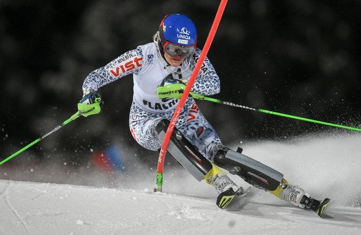 Skier Velez Zuzulova Veronika give her best at the World Cup in Flachau